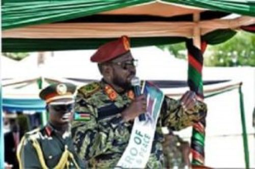 South Sudan President addressing the army in Bilpam on Thursday (File photo)