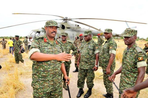 UPDF Commander Operation, Kalongero Muhanga and UPDF Spokesman Paddy Ankunda at Bor Early 2014