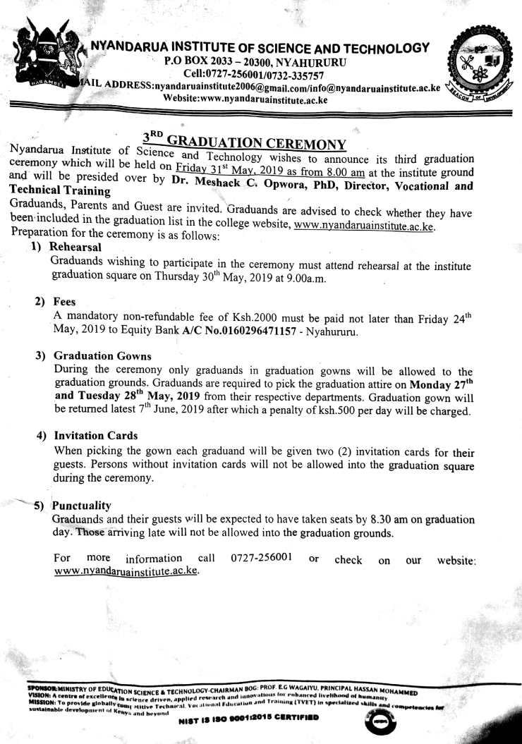 Notice on Graduation