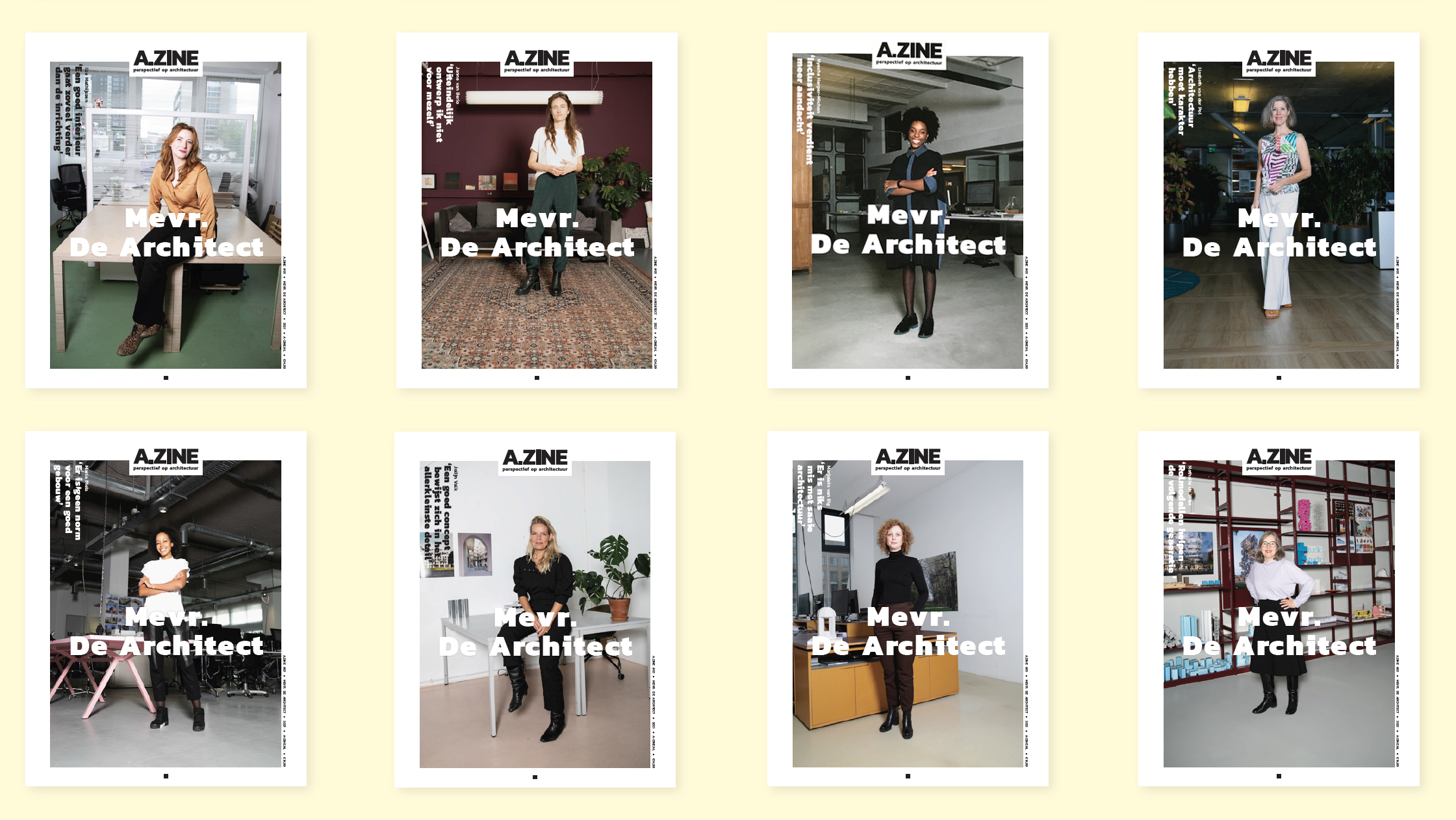 Mevrouw de Architect - selection of front Covers 2021