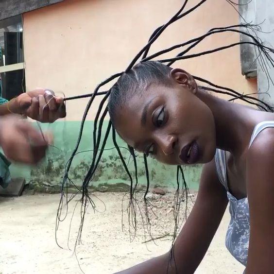 des tresses au fil pour allonger les cheveux crepus