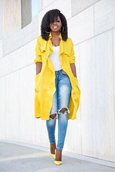 look chemise jaune grand modèle + jeans