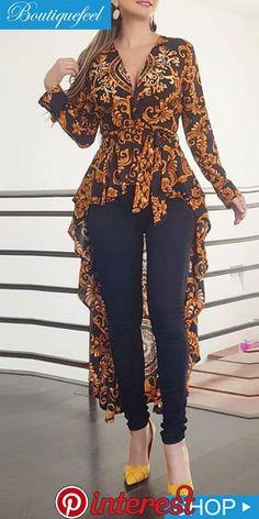 look long haut fleurie et jeans