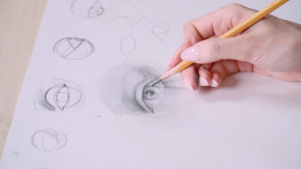How to draw eyes with a pencil Phased - Stage 12 - Photo