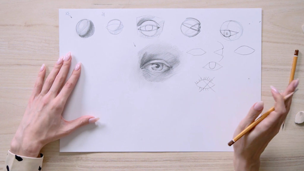 How to draw eyes with a pencil Phaood - Stage 16 - Photo