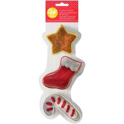 Udstikker til julesok, stjerne og julemandens stok