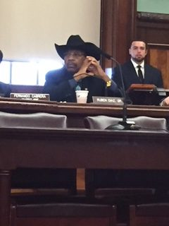 Council Member Ruben Diaz, Sr. at today's transportation hearing.