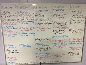 sample weekly schedule board