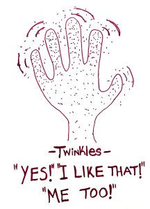 """twinkle fingers"" positive feels hand signal"