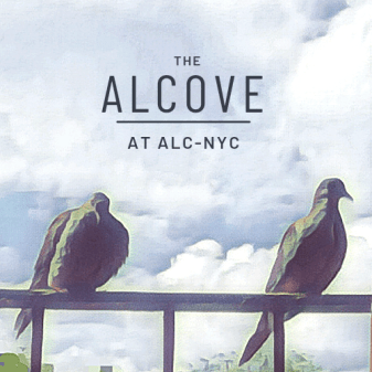 """Text reading """"The Alcove at ALC NYC"""" over a cloudy sky, with 2 pigeons perched on a fire escape railing in the foreground."""