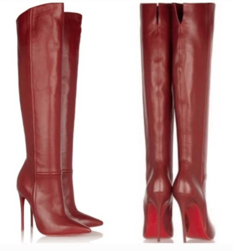 thigh high red leather designer boots on mistress blunt's wishlist