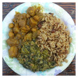 Jerk Shack - Curried Potatoes, Coconut Seasoned Rice & Peas, Callaloo