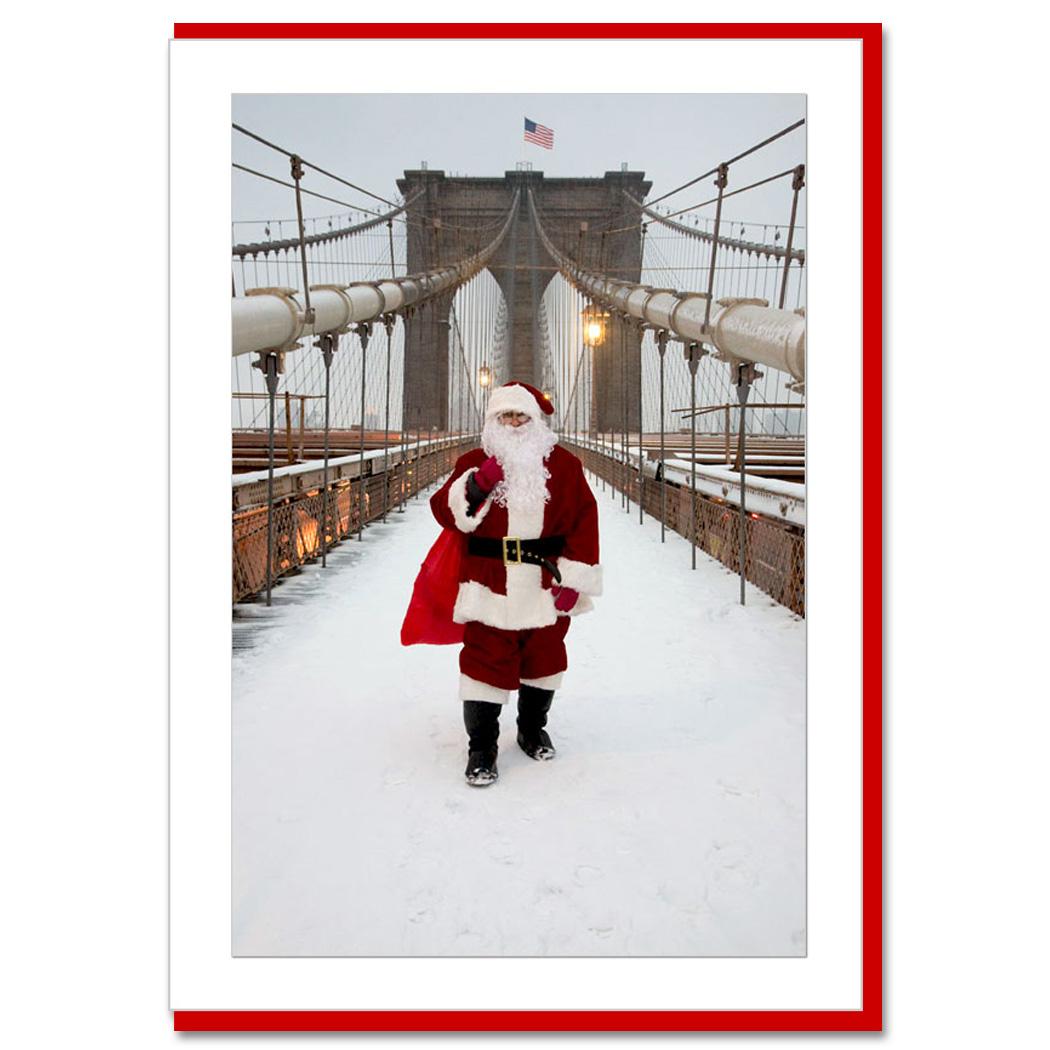 Santa On Brooklyn Bridge New York