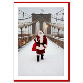 Santa on Brooklyn Bridge Handmade Photo Card from NYChristmasGifts.com
