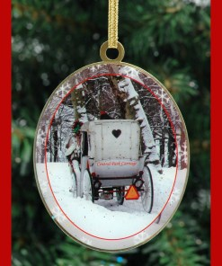 White Carriage Central Park New York Christmas Ornament from NY Christmas Box