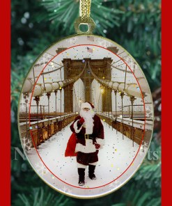 Santa on Brooklyn Bridge New York Christmas Ornament from NY Christmas Gifts