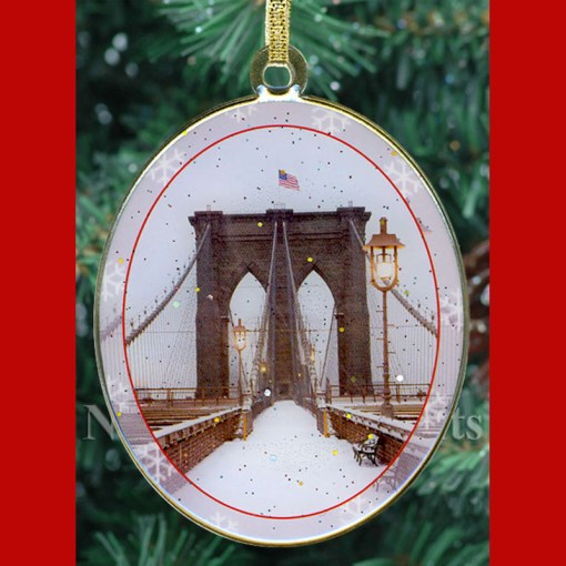 Snow Brooklyn Bridge New York Christmas Ornament from NY Christmas Gifts