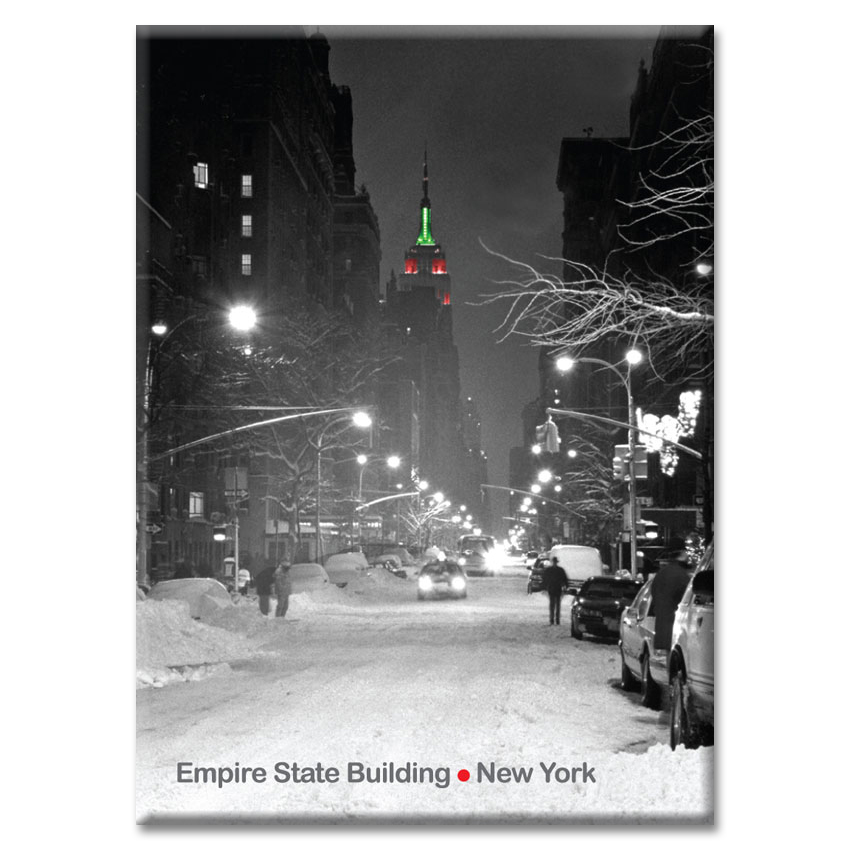 Empire State Building Christmas Lights – New York Photo Magnet