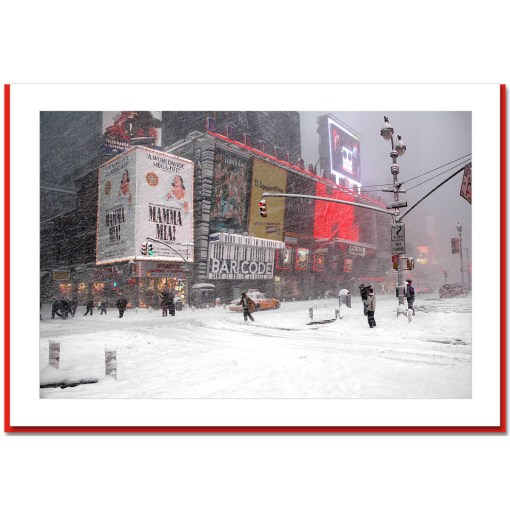 Blizzard on Times Square - Handmade Photo Card