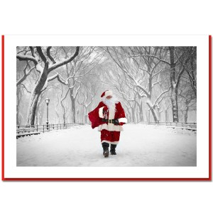 Santa on Poet Walk in Central Park - Handmade Photo Card