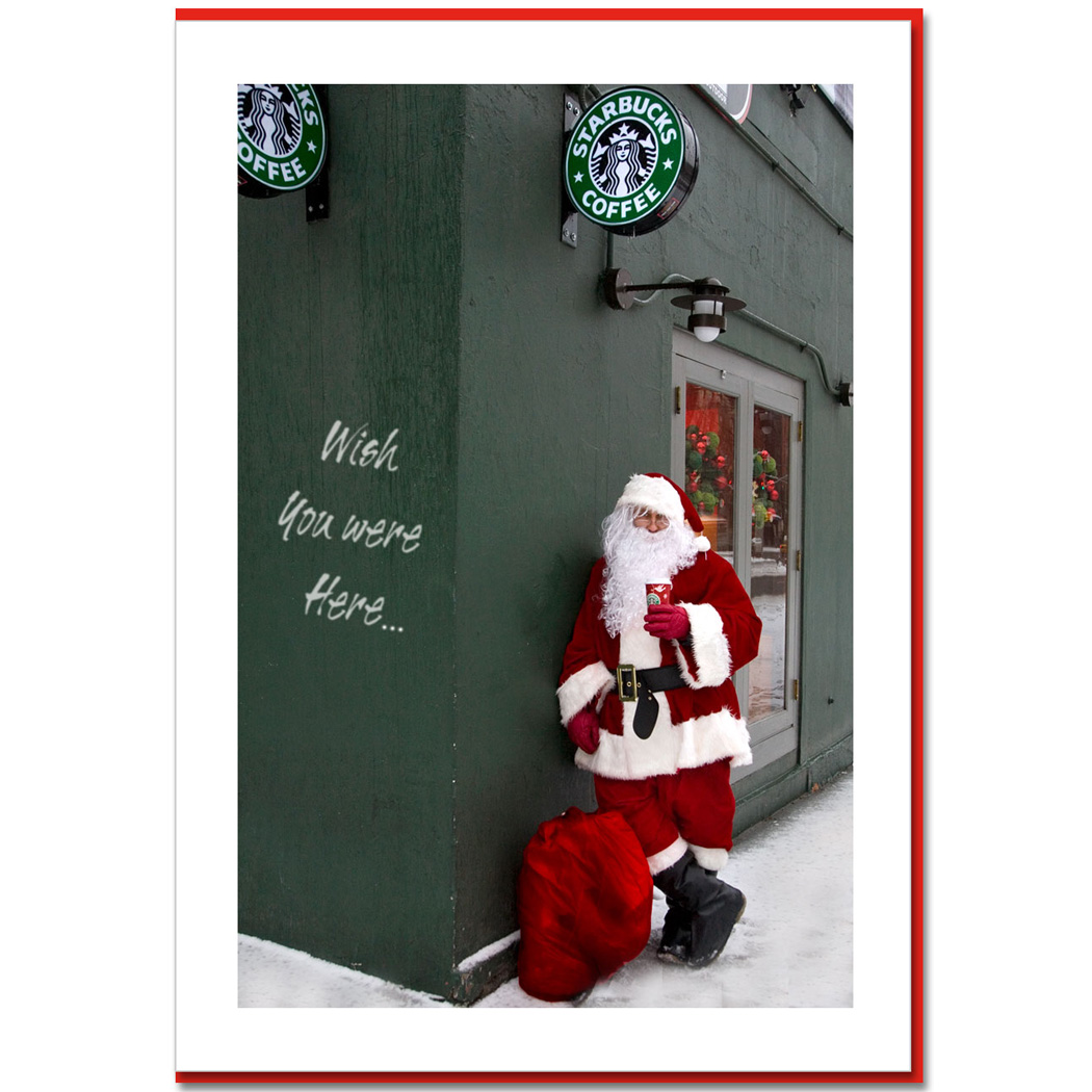 Santa Drinking Starbucks Coffee In Downtown Manhattan NY