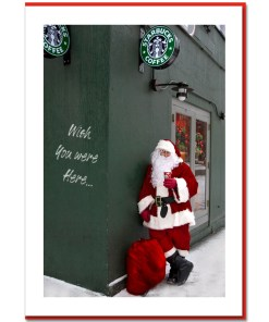Santa Drinking Starbucks Coffee - Handmade Photo Card