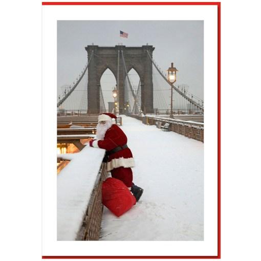 Santa Watching Traffic on Brooklyn Bridge - Handmade Photo Card