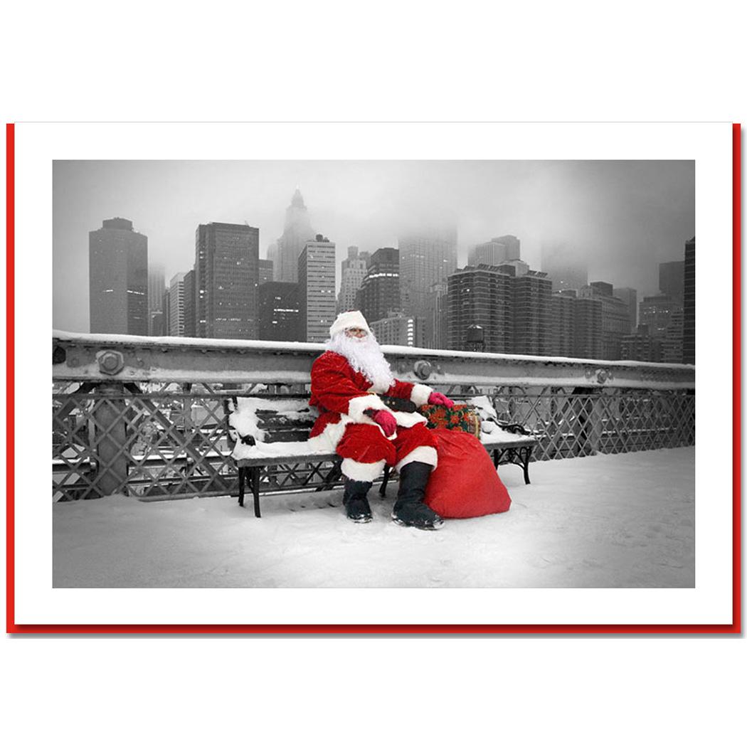 Santa Resting On Brooklyn Bridge New York NY Christmas