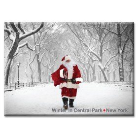Santa in Central ParkStatue of Liberty and Downtown New York Photo Magnet from NY Christmas Gifts