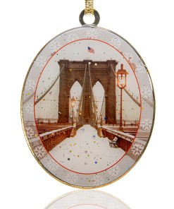 Snow on Brooklyn Bridge New York Christmas Ornament from Christmas in New York Collection