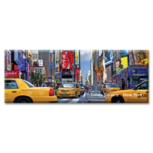 Yellow Cabs on Times Square Panorama New York Photo Magnet