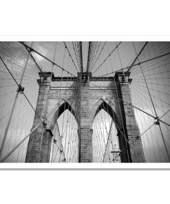 Brooklyn Bridge Ropes Horizontal New York Art Print Poster