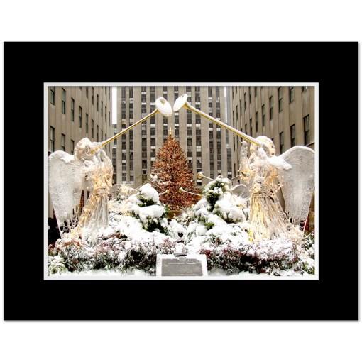 Angels at Rockefeller Christmas Tree Art Print Poster MP 2110 Black Mat