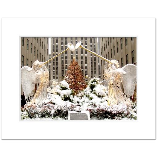 Angels at Rockefeller Christmas Tree Art Print Poster MP 2110 White Mat