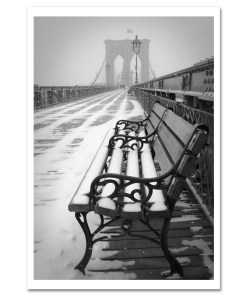 Bench Brooklyn Bridge Snow New York Art Print Poster MP-1151