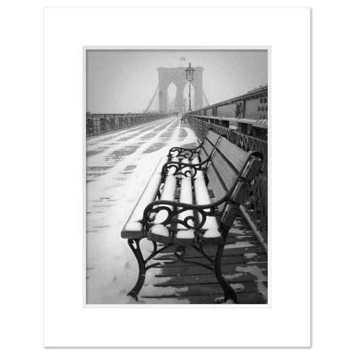Bench Brooklyn Bridge Snow New York Art Print Poster MP-1151 Mat White