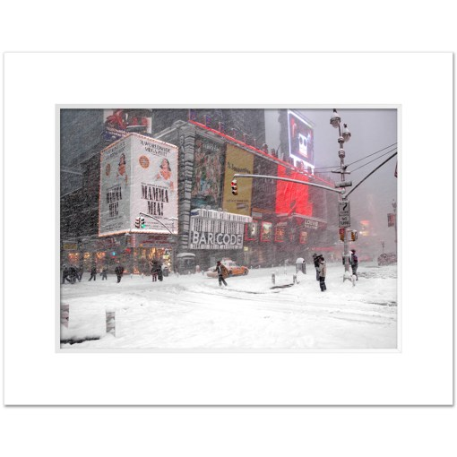 Blizzard on Times Square Art Print Poster MP-1050 White Mat