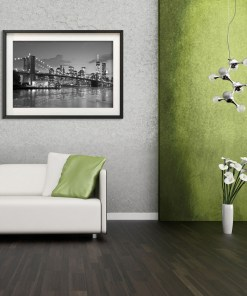 Brooklyn Bridge Night Panorama Reflection New York Art Print Black and White Lime Gray Room Decor