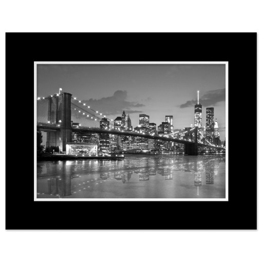 Brooklyn Bridge Night Panorama Reflection New York Art Print Black and White Black Mat