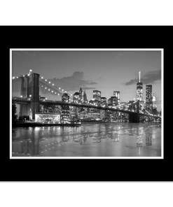 Brooklyn Bridge Night Panorama Reflection New York Art Print Black and White Black Mat