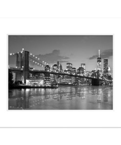 Brooklyn Bridge Night Panorama Reflection New York Art Print Black and White White Mat