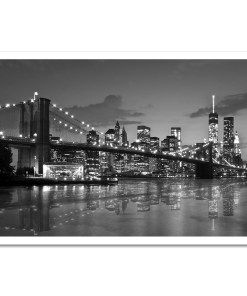 Brooklyn Bridge Night Panorama Reflection New York Art Print Black and White