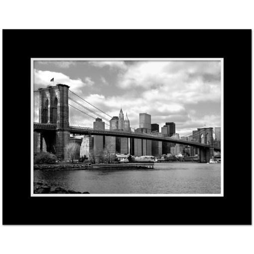 Brooklyn Bridge Panorama New York Art Print Poster MP-1007 Mat Black