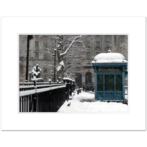 Brooklyn Bridge Subway Station Art Print Poster MP-1445 White Mat