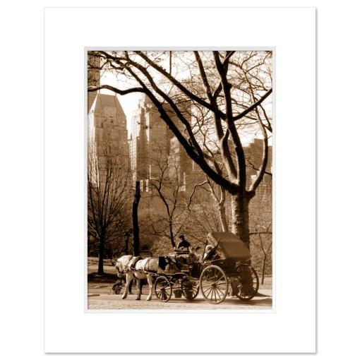 Carriage Ride Central Park Art Print MP-1005 Mat White