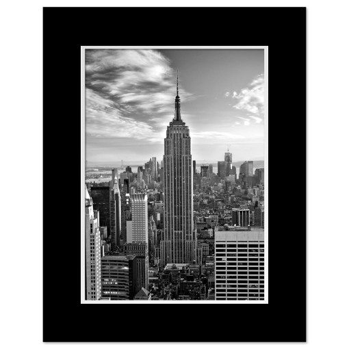 Empire State Building Black and White Art Print Poster MP-1019 Black Mat