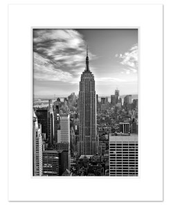 Empire State Building Black and White Art Print Poster MP-1019 White Mat
