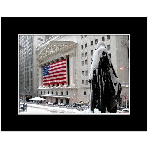 George Washington Wall Street Winter Art Print Poster MP-2116 Mat Black