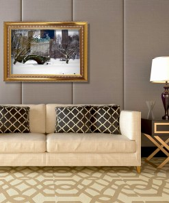 Love Bridge Central Park NY Art Print Poster Biege Gold Room Decor