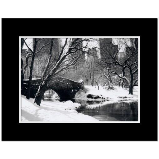 Love Bridge Central Park New York Black White Art Print NY MP-1006 Black Mat